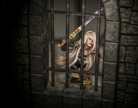 woman behind: 3d rendering of a female warrior trapped in a fortress as illustration Stock Photo