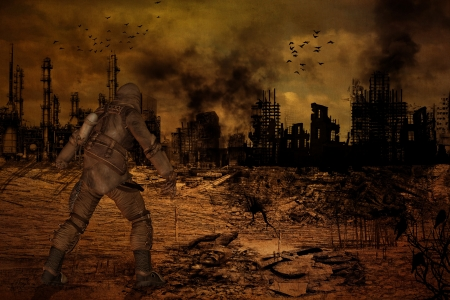 post apocalypse: Illustration of man standing in front of a destroyed city Stock Photo