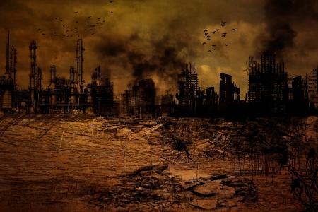 파괴 된 도시의 배경 그림 스톡 콘텐츠