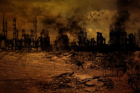 post apocalypse: Background Illustration of a destroyed city
