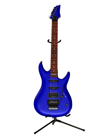 headstock: Illustration of an electric guitar with blue body