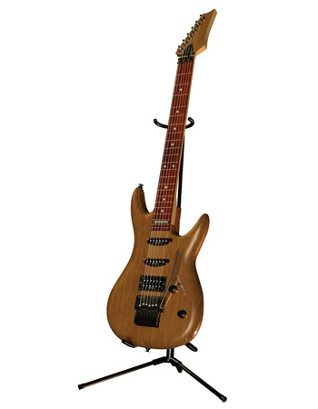 musically: Illustration of an electric guitar with wooden body