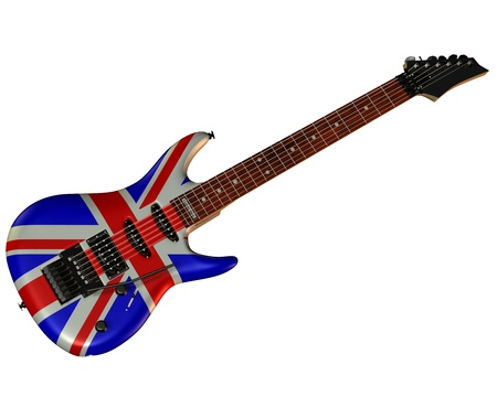 union jack: Illusttration of an electric guitar with union jack Stock Photo