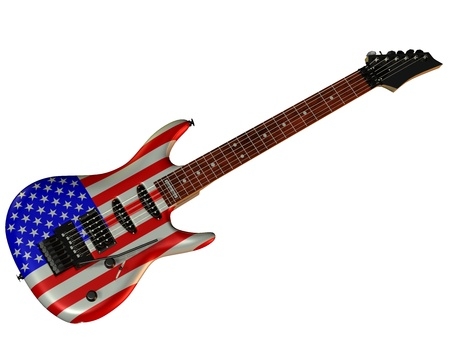 headstock: Illustration of an electric guitar with USA flag Stock Photo