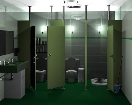 3D-weergave van een vrouwen-wc