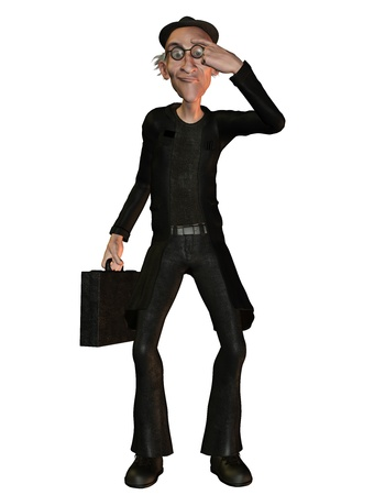 lllustration: Illustration of a cartoon businessman in gesturing Stock Photo