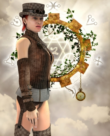 suspenders: 3D rendering of a Steampunk woman with suspenders Stock Photo