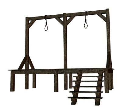 Cutout of a gallows in the Middle Ages