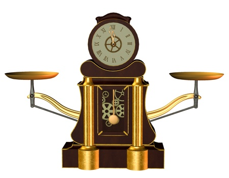 Illustration of an old clock in steampunk style