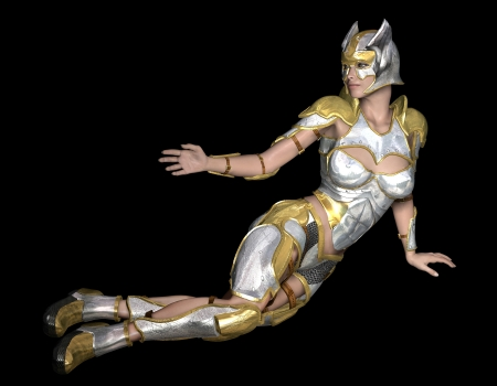 warrior pose: 3d rendering of a female warrior in armor as Illlustration Stock Photo
