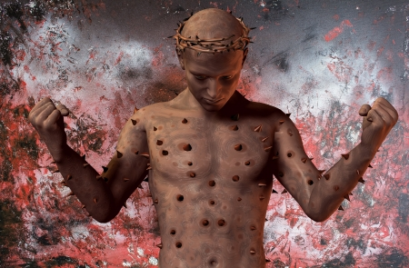 squamous: Illustration of a surreal creature with crown of thorns Stock Photo