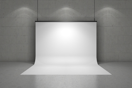 exhibit houses: 3d white background in a empty concrete space