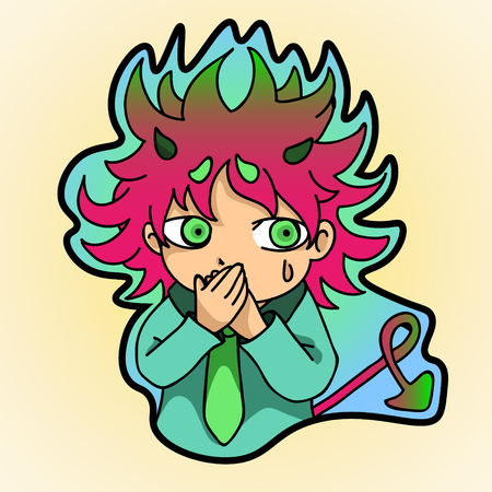 illustrate i: sticker , frightened little demon closed his hands over her mouth