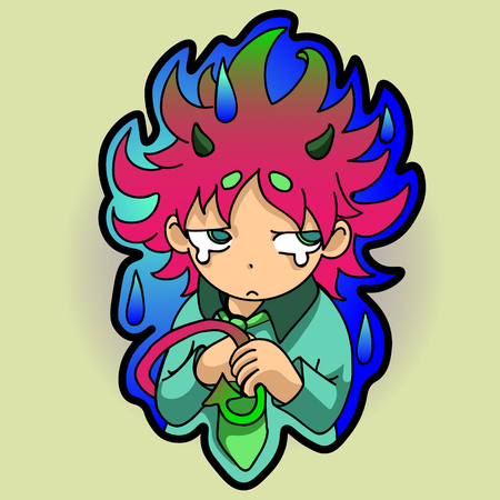 resentful: sticker. resentful, little demon holds in the hands of the tail, looking askance Illustration