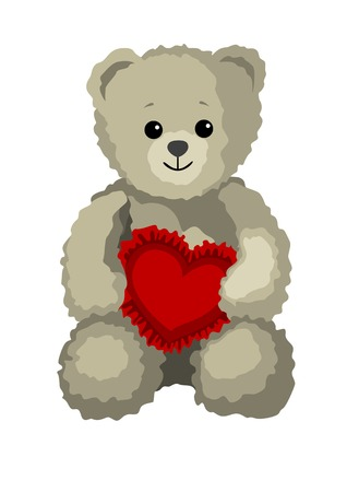 Cute teddy bear is holding a heart as a gift for St. Valentines Day