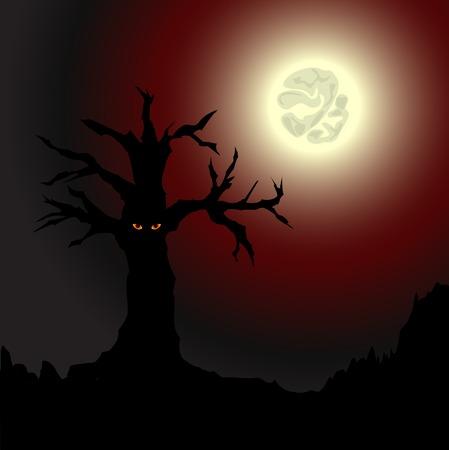 Yellow-eyed tree under the full moon