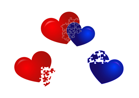 Two heart puzzles Illustration