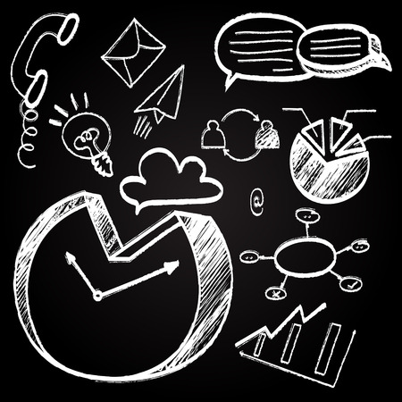 Chalkboard with hand drawn business doodle icon set Vector