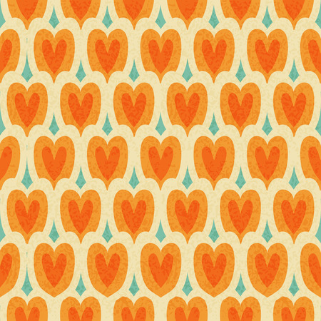 Vintage japan style orange hearts seamless pattern with old texture on blue background Фото со стока - 35238226