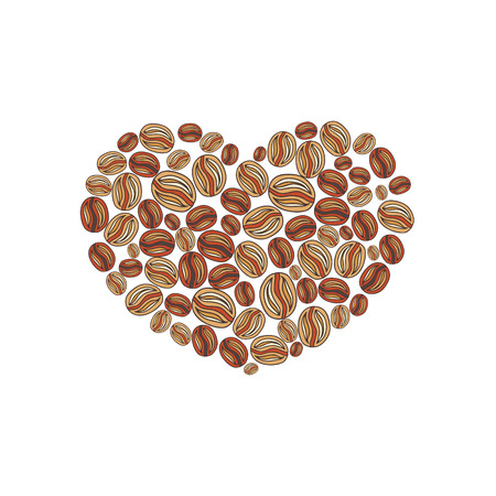 Coffee beans doodle in a shape of heart vector greeting card illustration Vector