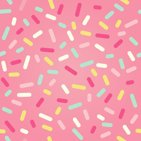 color pattern: Seamless background with pink donut glaze and many decorative sprinkles