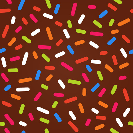 Seamless background with chocolate donut glaze and many decorative bright sprinkles