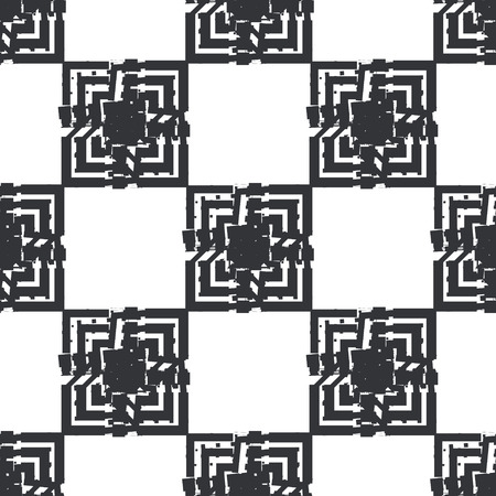 glitch: Black and white glitch geometric seamless pattern Illustration