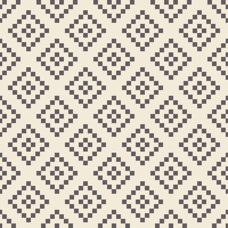 ikat: Pixel rhombus monochrome seamless pattern. Ikat print