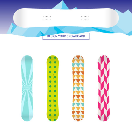 applied: Snowboard banner template. White snowboard design template with a set of applied example patterns.