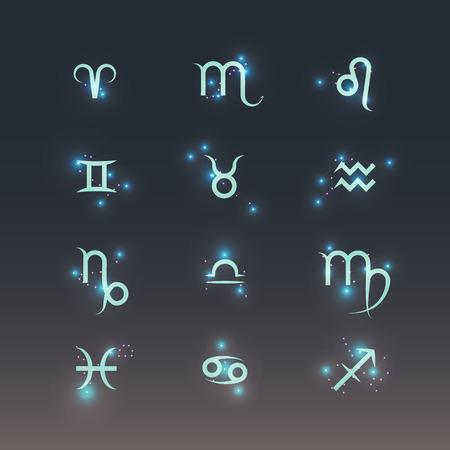 constelaciones: s�mbolos del zod�aco con brillantes constelaciones. icono de conjunto