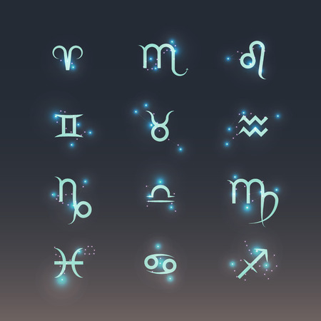 costellazioni: Simboli Zodiac con costellazioni lucenti. Icon set Vettoriali