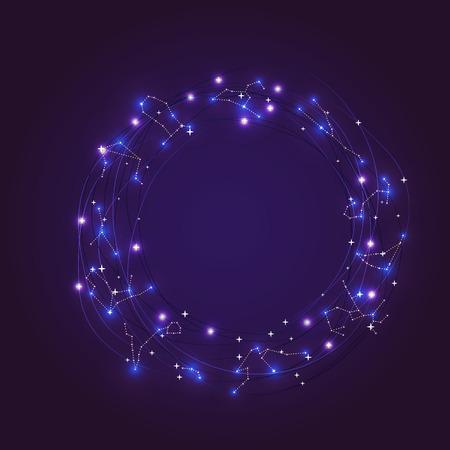 costellazioni: Zodiacale brillanti costellazioni telaio con stelle