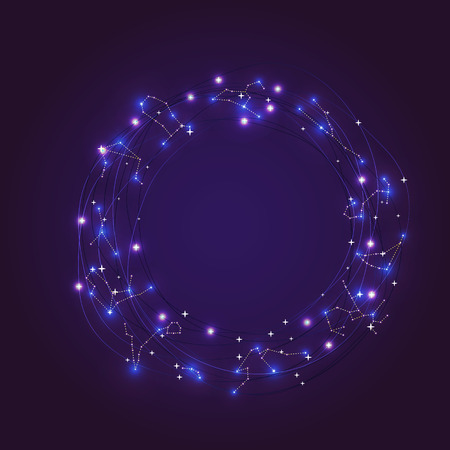 constelaciones: Zodiaco brillando marco de constelaciones de estrellas