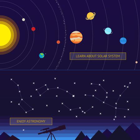 constelaciones: Conjunto de banderas del espacio: modelo del sistema solar y las constelaciones en el cielo nocturno