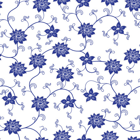 Hand drawn chinese porcelain seamless pattern with flowers