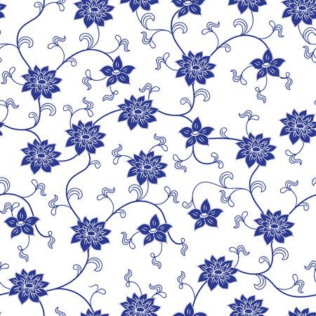 Hand chinesisches Porzellan nahtlose Muster mit Blumen gezeichnet