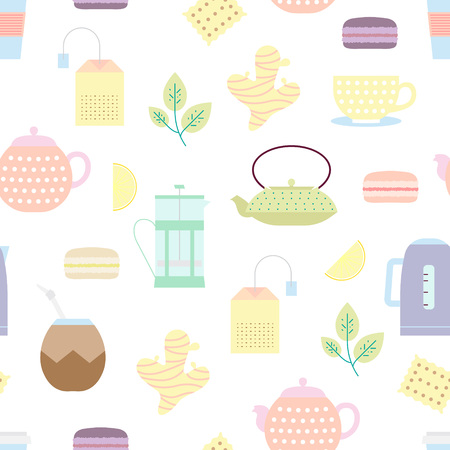 french culture: Tea culture objects pattern: teacup, cast-iron teapot, plastic cup, tea bag, teapot, tea leaf, french press, calabash, kettle, biscuit, lemon, macaroon and ginger