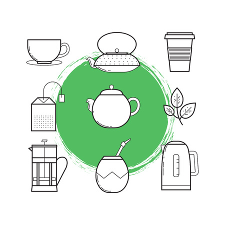 Lined icon set of tea culture objects: teacup, cast-iron teapot, plastic cup, tea bag, teapot, tea leaf, french press, calabash, kettle Illustration