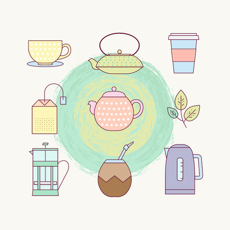 Lined icon set of tea culture objects: teacup, cast-iron teapot, plastic cup, tea bag, teapot, tea leaf, french press, calabas, kettle Illustration