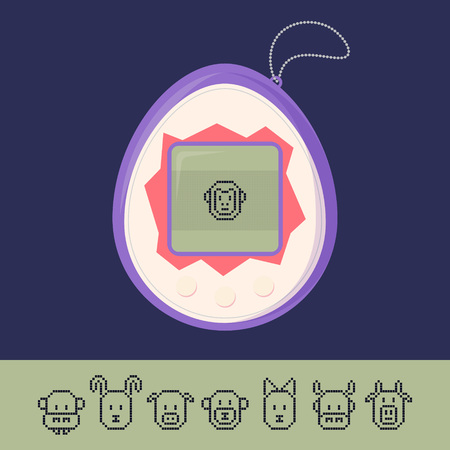 Tamagotchi game with set of pixel animal icons Иллюстрация