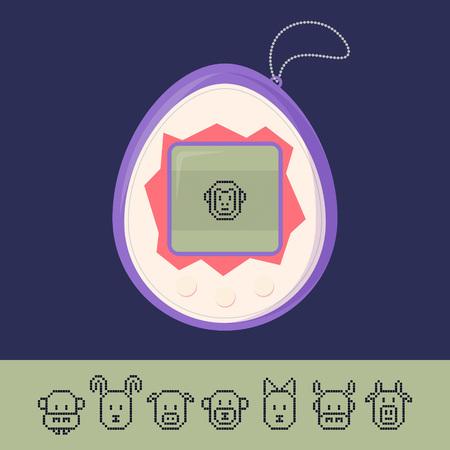 Tamagotchi juego con el conjunto de iconos de animales de píxeles