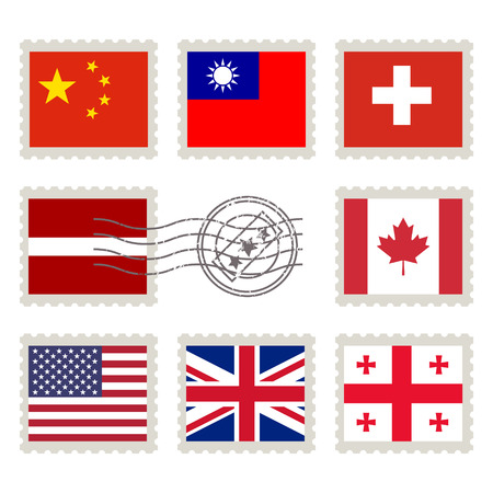 canada stamp: Country flags stamp set: China, Taiwan, Switzerland, Latvia, Canada, United States of America, Great Britain, Georgia