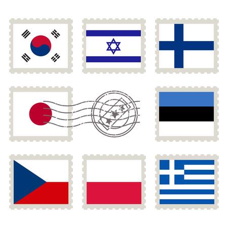 republic of korea: Country flags stamp set: Republic of Korea, Israel, Finland, Japan, Estonia, Czech Republic, Poland, Greece Illustration