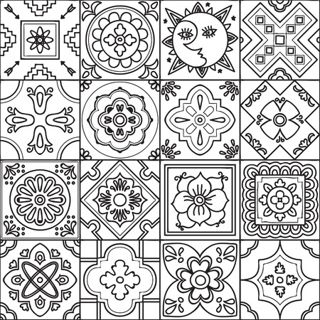 pottery: Talavera set of 16 mexican tiles. Seamless pattern. Adult coloring