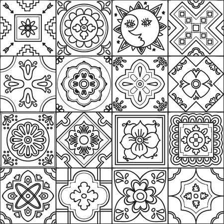 talavera: Talavera set of 16 mexican tiles. Seamless pattern. Adult coloring