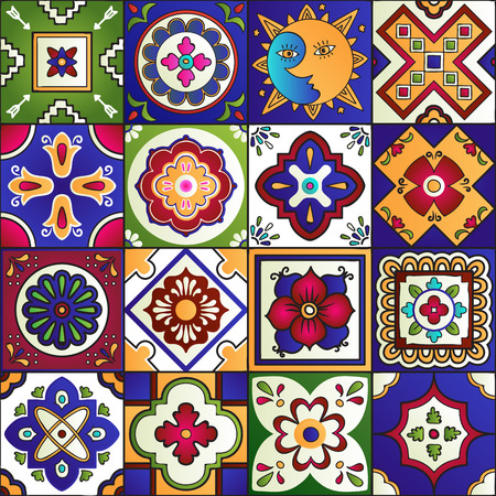 Talavera set of 16 mexican tiles. Seamless pattern Stock fotó - 51405632