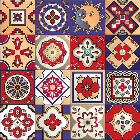 Talavera set of 16 mexican tiles. Seamless pattern