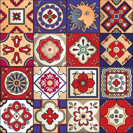 Talavera set van 16 Mexicaanse tegels. naadloos patroon