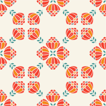 aster: Cute simple flat flower seamless pattern. Red aster Illustration
