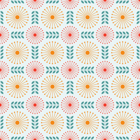Cute simple flat flower seamless pattern. Red and yellow dandelion Иллюстрация